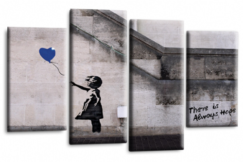 Banksy Canvas Wall Art Picture Print Art Blue Balloon Girl Hope